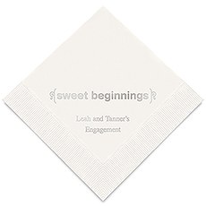 Personalized Foil Printed Paper Napkins - Sweet Beginnings