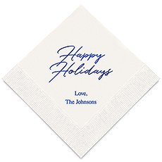 Personalized Foil Printed Paper Napkins - Happy Holidays