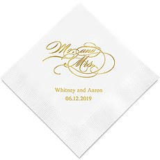Personalized Mr. & Mrs. Script Printed Napkins