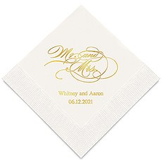 Personalized Foil Printed Paper Napkins - Mr and Mrs Script