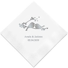 Personalized Foil Printed Paper Napkins - Love Birds