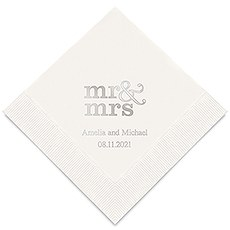 Personalized Foil Printed Paper Napkins - Mr & Mrs