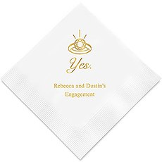 Personalized Foil Printed Paper Napkins - Yes To The Ring
