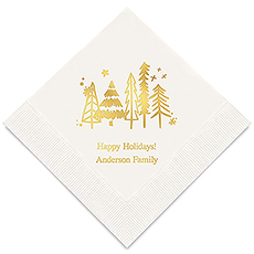 Personalized Foil Printed Paper Napkins - Christmas Pine Trees