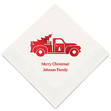 Personalized Foil Printed Paper Napkins - Christmas Truck