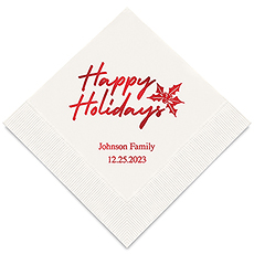 Personalized Foil Printed Paper Napkins - Classic Christmas Happy Holidays