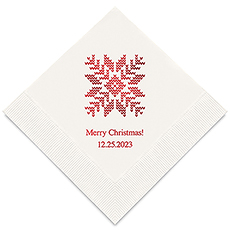 Personalized Foil Printed Paper Napkins - Knit Sweater Snowflake