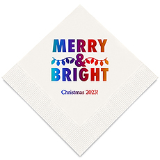 Personalized Foil Printed Paper Napkins - Merry & Bright