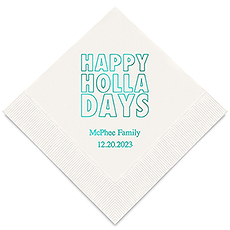 Personalized Foil Printed Paper Napkins - Happy Holladays