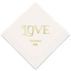 Personalized Foil Printed Paper Napkins - Merry Midnight Love