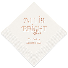 Personalized Foil Printed Paper Napkins - All is Bright