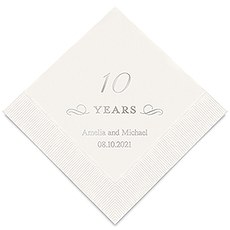 Personalized Foil Printed Paper Napkins - 10 Years