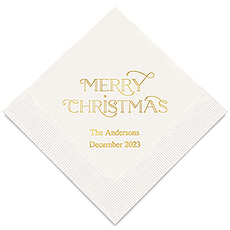 Personalized Foil Printed Paper Napkins - Merry Midnight Merry Christmas