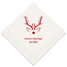 Personalized Foil Printed Paper Napkins - Rudolph