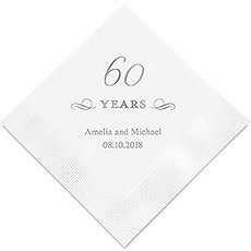 Personalized Foil Printed Paper Napkins - 60 Years