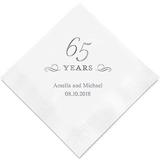 Personalized Foil Printed Paper Napkins - 65 Years