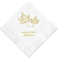 Personalized Foil Printed Paper Napkins - Fall Leaf