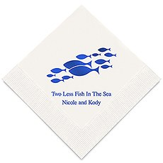 Personalized Foil Printed Paper Napkins - Two Less Fish In The Sea