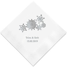 Personalized Foil Printed Paper Napkins - Winter Finery Snowflake