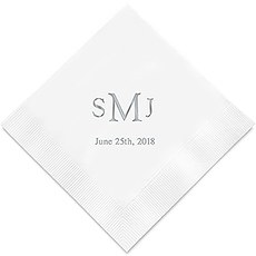 Personalized Foil Printed Paper Napkins - Traditional Monogram