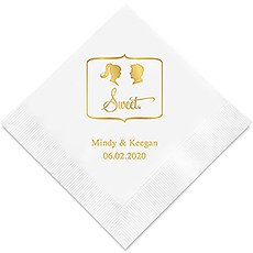 Personalized Foil Printed Paper Napkins - Sweet Silhouette Ponytail Bride, Spiked Hair Groom