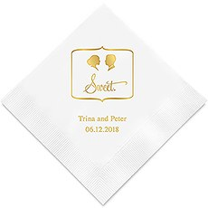 Personalized Foil Printed Paper Napkins - Sweet Silhouette Bride With Bun, Short Haired Groom