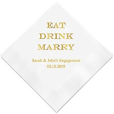 Personalized Foil Printed Paper Napkins - Eat Drink Marry
