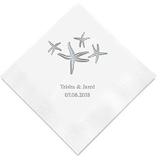 Personalized Foil Printed Paper Napkins - Starfish