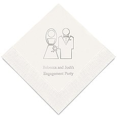 Personalized Foil Printed Paper Napkins - Stylized Bride And Groom