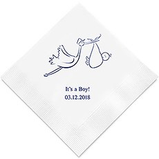 Personalized Foil Printed Paper Napkins - Stork Baby Shower