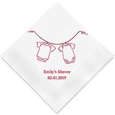 Personalized Foil Printed Paper Napkins - Hanging Baby Clothes