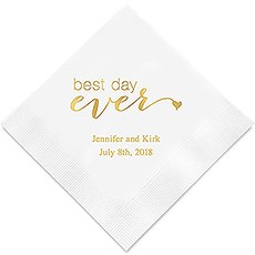 Personalized Foil Printed Paper Napkins - Best Day Ever
