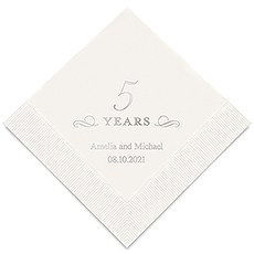 Personalized Foil Printed Paper Napkins - 5 Years