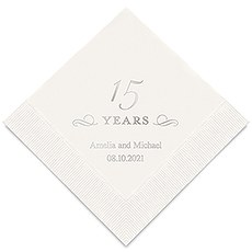 Personalized Foil Printed Paper Napkins - 15 Years