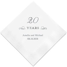 Personalized Foil Printed Paper Napkins - 20 Years