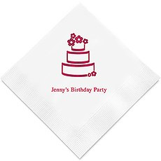 Personalized Foil Printed Paper Napkins - Wedding Cake