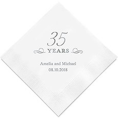Personalized Foil Printed Paper Napkins - 35 Years