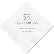 Personalized Foil Printed Paper Napkins - 55 Years