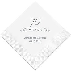 Personalized Foil Printed Paper Napkins - 70 Years