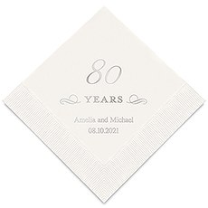 Personalized Foil Printed Paper Napkins - 80 Years