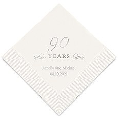 Personalized Foil Printed Paper Napkins - 90 Years