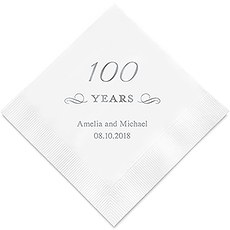 Personalized Foil Printed Paper Napkins - 100 Years