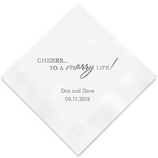 Personalized Foil Printed Paper Napkins - Cheers To A Marry Life