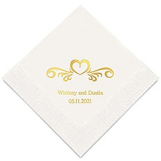 Personalized Foil Printed Paper Napkins - Heart Swirl