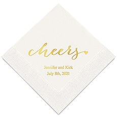 Personalized Foil Printed Paper Napkins - Cheers