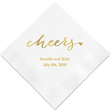 Personalized u0027Cheersu0027 Custom Printed Napkins  sc 1 st  The Knot Shop & Engagement Personalized Napkins - The Knot Shop