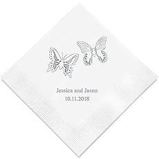 Personalized Foil Printed Paper Napkins - Beautiful Butterflies