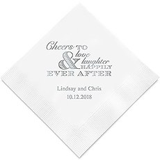 Personalized Foil Printed Paper Napkins - Wedding Cheer