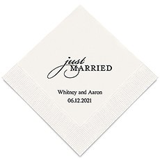 Personalized Foil Printed Paper Napkins - Just Married