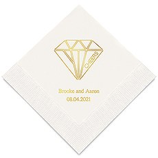 Personalized Foil Printed Paper Napkins - Cheers Geometric Diamond